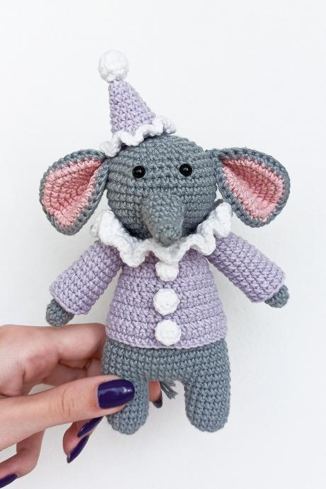 Amigurumi elephant clown Crochet elephant Plush elephant Baby soft toy Elephant toy Animal toy Stuffed toy Stuffed elephant Plush toy