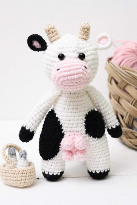 Amigurumi cow Crochet cow Plush cow Stuffed cow toy Crochet animal Baby soft toy Newborn baby gift Baby shower gift